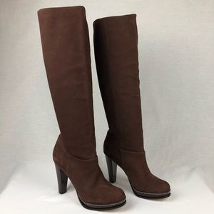 Cole Haan | Brown Suede Pull On Knee High Boots